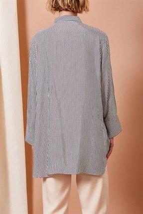 Alvina Moda Kadın Siyah Beyaz Çizgili Oversize Gömlek 3