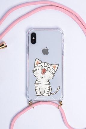 POFHİ Huawei P30 Lite Sevimli Kedi Pembe Askılı Telefon Kılıfı 0
