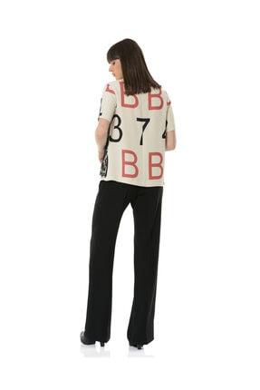 BİRELİN Kadın Bej Dantel Detaylı Desenli Bluz 3