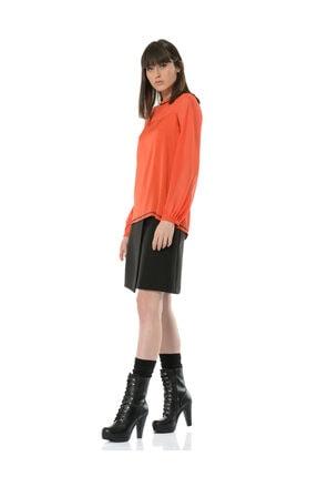 BİRELİN Kadın Kiremit Kontrast Dikiş ve Kadife Şerit Detaylı Uzun Kollu Bluz 2