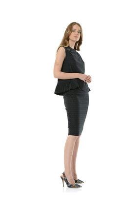 BİRELİN Kadın Yeşil Piliseli Kolları Büzgülü Broş Detaylı Bluz 2