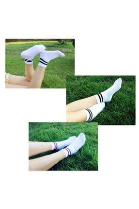 çorapmanya 5 Çift Unisex Karışık Renkli Çizgili Kolej Tenis Çorabı 2