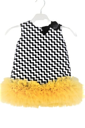 CHIC Bebe Kız Bebek Siyah Zigzag Desenli Tül Etekli Abiye Elbise 0