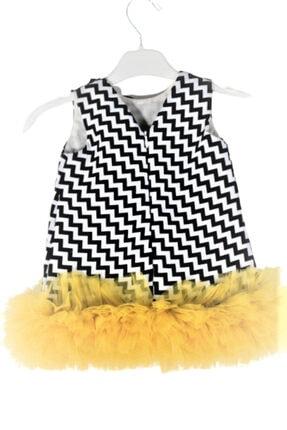 CHIC Bebe Kız Bebek Siyah Zigzag Desenli Tül Etekli Abiye Elbise 2