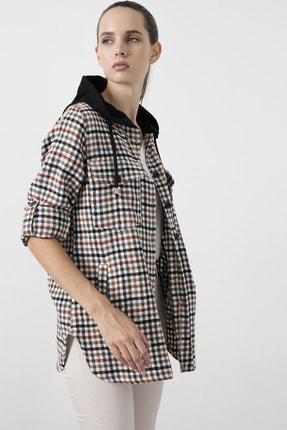 Lela Kadın Siyah Cepli Kare Desenli 59120921kare Düğme Kapamalı Kapüşonlu Gömlek 1