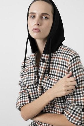Lela Kadın Siyah Cepli Kare Desenli 59120921kare Düğme Kapamalı Kapüşonlu Gömlek 2