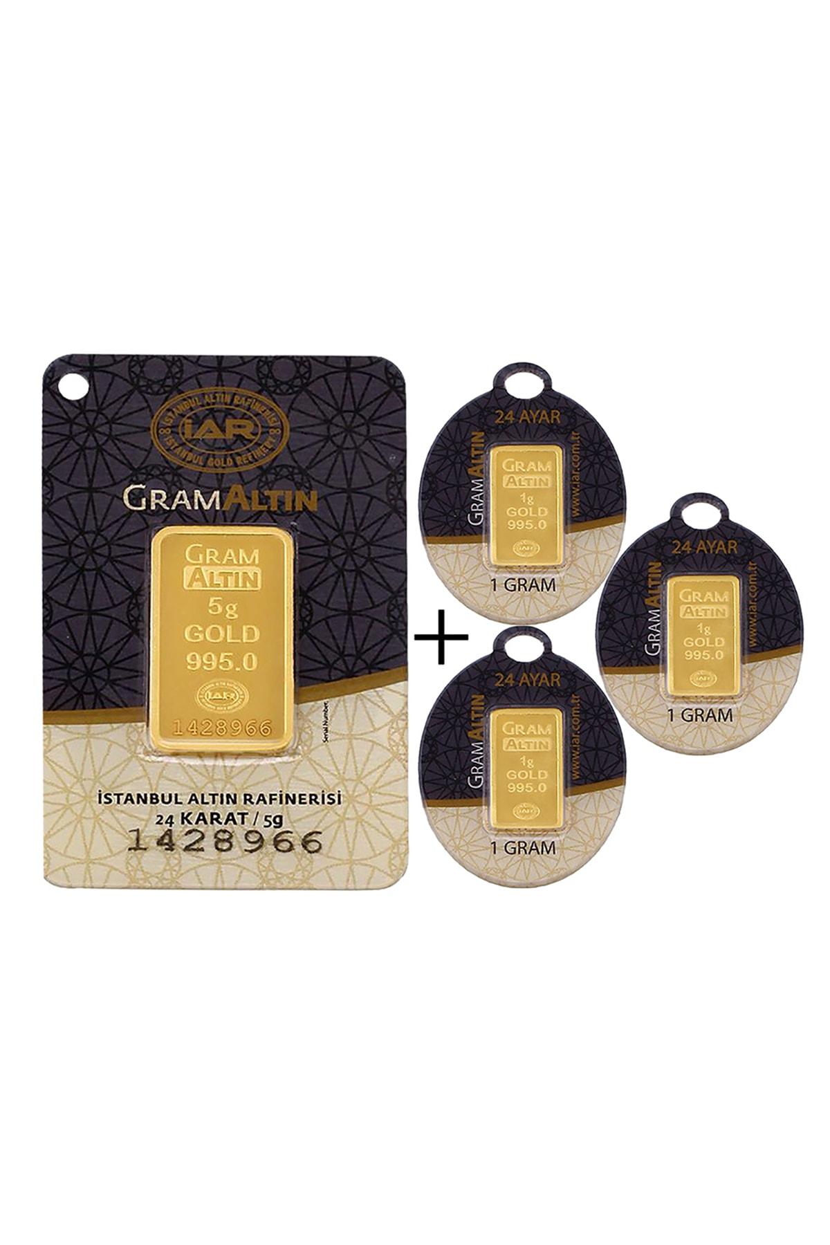 Tuğrul Kuyumculuk 8 Gram (5+3) Külçe Gram Altın IAR 24 Ayar K00008 0