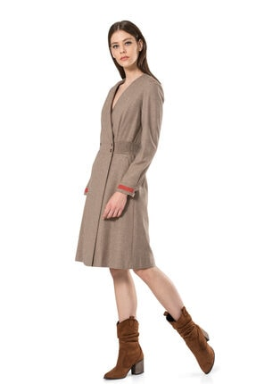 BİRELİN Kadın Bej Keçe Nakış Detaylı Elbise 2