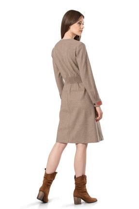 BİRELİN Kadın Bej Keçe Nakış Detaylı Elbise 3