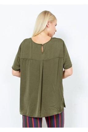 Adze Kadın Haki V Yaka Yan Yırtmac Basic Bluz Hakı M 2