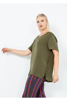 Adze Kadın Haki V Yaka Yan Yırtmac Basic Bluz Hakı M 3