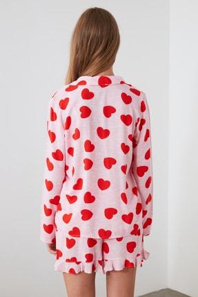 TRENDYOLMİLLA Pudra Kalp Desenli Dokuma Pijama Takımı THMAW21PT0043 3