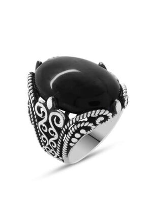 Kristal Gümüş Siyah Oniks Taşlı Ferforje Tasarım 925 Ayar Gümüş Erkek Yüzük 2