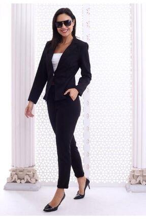 HOPANNİ Kadın Siyah Düz Pantolon Ceket Takım 0