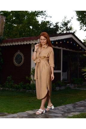 CALALUNA Kadın Bej Gömlek Elbise 1
