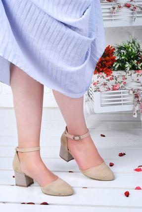 Ayakland 111012-347 Kadın Ten 5 cm Topuk Süet Sandalet Ayakkabı 1