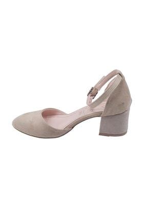 Ayakland 111012-347 Kadın Ten 5 cm Topuk Süet Sandalet Ayakkabı 3