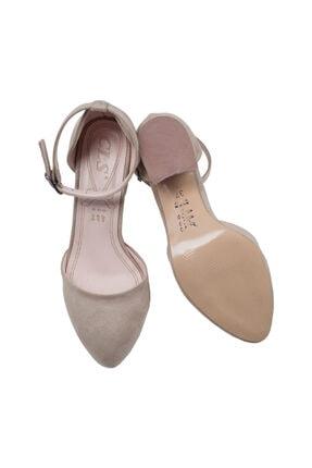 Ayakland 111012-347 Kadın Ten 5 cm Topuk Süet Sandalet Ayakkabı 4