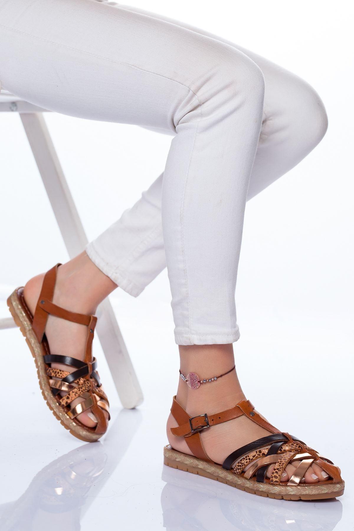 Radikal Kadın Holle Deri Sandalet Mix2
