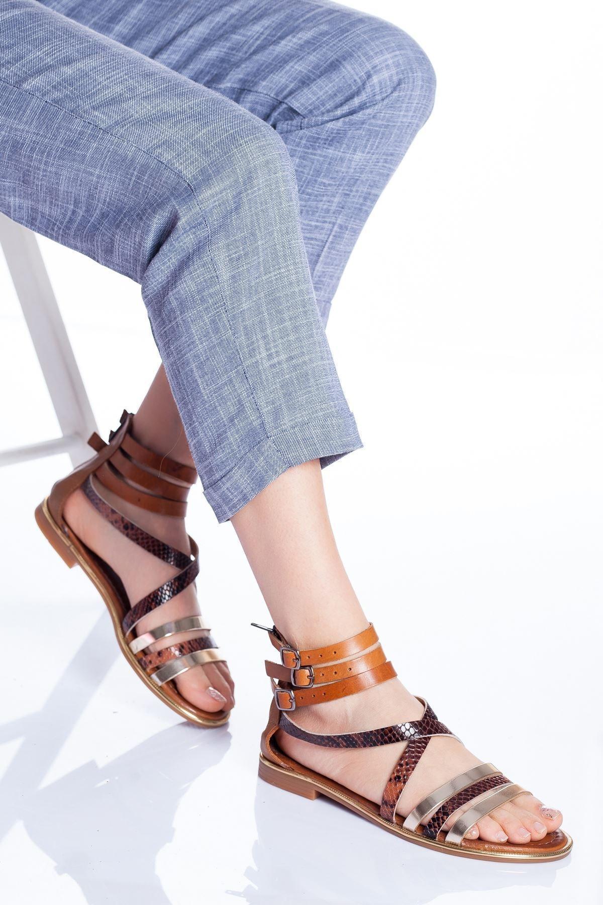 Radikal Kadın Kahverengi Vera Deri Sandalet Taba