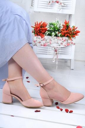 Ayakland 111012-347 Kadın Pudra 5 cm Topuk Süet Sandalet Ayakkabı 1