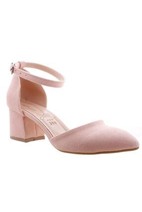 Ayakland 111012-347 Kadın Pudra 5 cm Topuk Süet Sandalet Ayakkabı 4