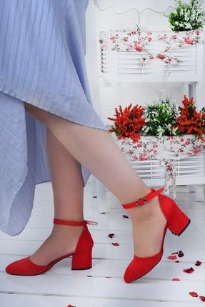 Ayakland Kadın Kırmızı Süet Topuklu Ayakkabı 0
