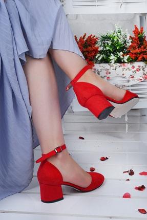 Ayakland Kadın Kırmızı Süet Topuklu Ayakkabı 1
