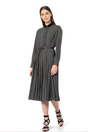 BİRELİN Kadın Siyah Triko Yakalı Kareli Elbise 0