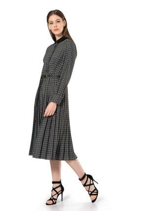 BİRELİN Kadın Siyah Triko Yakalı Kareli Elbise 2