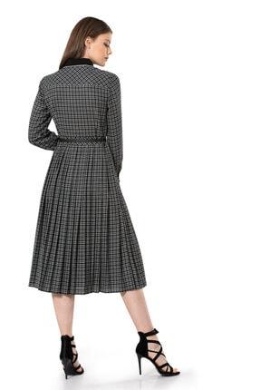 BİRELİN Kadın Siyah Triko Yakalı Kareli Elbise 3