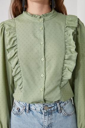 TRENDYOLMİLLA Mint Puantiyeli Gömlek TWOAW21GO0282 1
