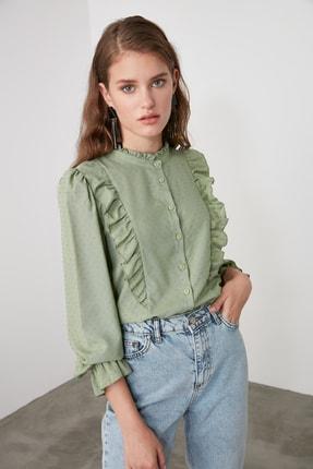 TRENDYOLMİLLA Mint Puantiyeli Gömlek TWOAW21GO0282 2