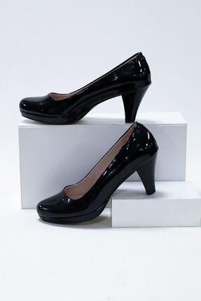 epaavm Kadın Siyah Rugan Platform Dekolte  Ayakkabı 0
