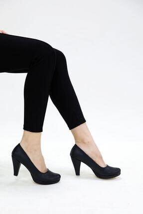 epaavm Kadın  Siyah Cilt Ayakkabı 10'luk Platform Dekolte 0