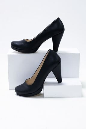 epaavm Kadın  Siyah Cilt Ayakkabı 10'luk Platform Dekolte 1