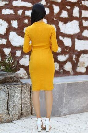 Modaymış Kadın Sarı Düğme Detaylı Elbise 3
