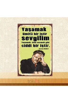 TAKIFİX Ahşap Nazım Hikmet Sevmek Gibi Ciddi Bir İştir Retro Poster 20x30 cm 0