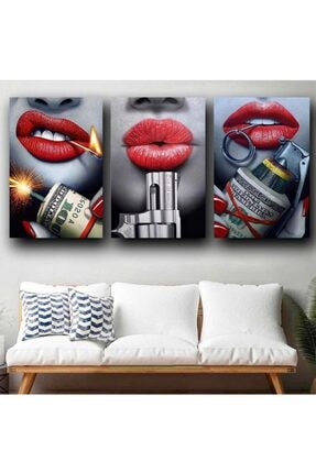 Simli Kanvas Para Ve Kadınlar Kanvas Tablo Simsiz 3adet-120x80cm 0