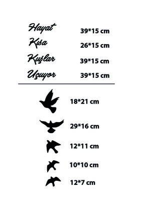 giogift Ahşap Lazer Kesim Duvar Dekoru Hayat Kısa Kuşlar Uçuyor 2