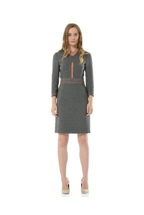 BİRELİN Kadın Gri Uzun Kollu Elbise 0