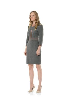 BİRELİN Kadın Gri Uzun Kollu Elbise 1