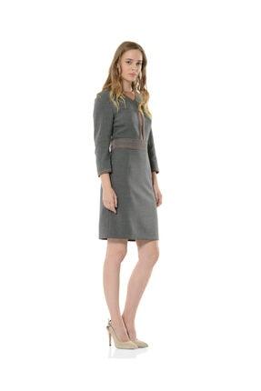 BİRELİN Kadın Gri Uzun Kollu Elbise 2