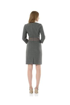 BİRELİN Kadın Gri Uzun Kollu Elbise 3