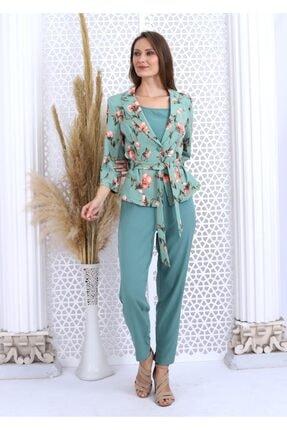 HOPANNİ Kadın Mint Çiçek Desenli Ceket Düz Elbise Takım 2