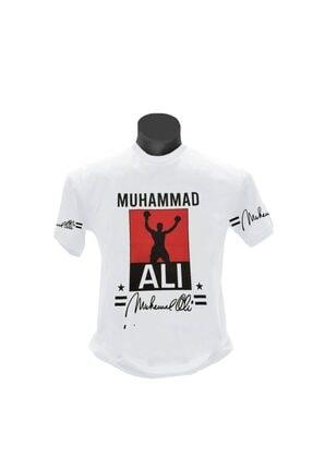 TSHIRTIUM Erkek Beyaz Muhammed Ali Baskılı T-shirt 0