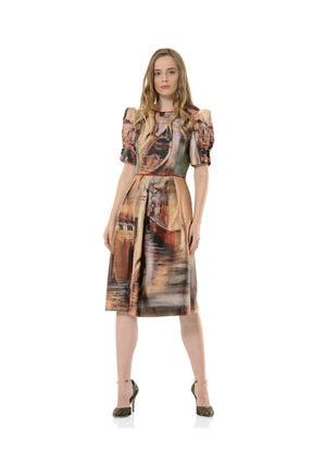 BİRELİN Kadın Kahverengi Midi Elbise 0