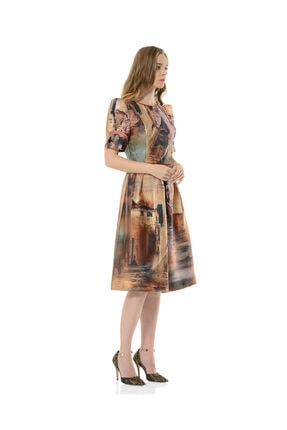 BİRELİN Kadın Kahverengi Midi Elbise 1