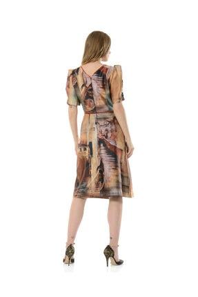 BİRELİN Kadın Kahverengi Midi Elbise 3