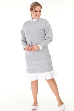 Lir Kadın Gri Büyük Beden Eteği Fırfır Uzun Kollu Elbise L1632 1